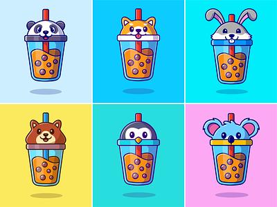 Animal boba🐼🐰🥤 boba straw koala elephant milkshake jar penguin rabbit panda cute animals topping chocolatte coffee drink bubble cute animal cute logo icon illustration