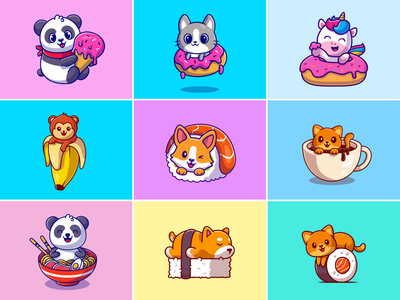 Food animal🐼🍦🐒🍌 noodle dog fruit fast food unicorn ramen donuts monkey cat panda coffee sushi ice cream meal food animal cute logo icon illustration