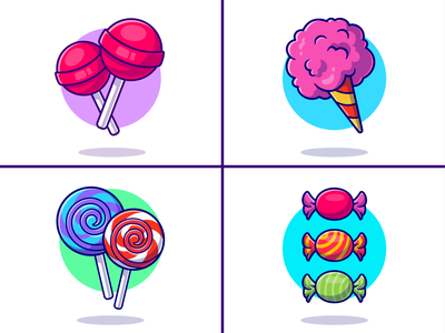 Candy🍭🍬 kind of candy candy wrappers children sweet sugar snack rainbow candy cone cup lollipop sugar sweet meal food sugar candy candies candy logo icon illustration