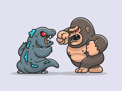 Godzilla vs Kong🦖🦍 gorilla power fight movie poster animal fighting monster film dinosaurus monkey bioskop war godzilla vs kong kong godzilla movie mascot logo icon illustration