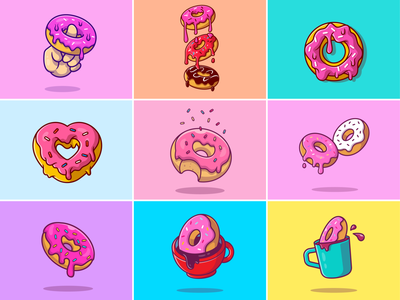 Donuts🍩 love snack sweet food flying food flying donut finger food cup box topping chocolate ring food milk sprinkles breakfast meal food donut logo icon illustration