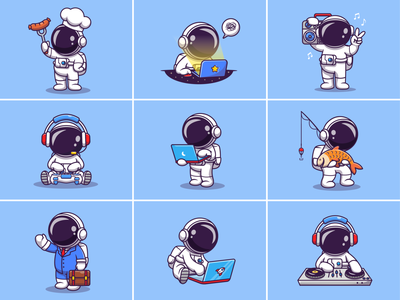 Astronaut activities🧑🏼‍🚀💻🎣🎧 laptop singing rocket astroman unique designs cute gaming daily life radio astronaut helmet working cooking fishing space activities astronaut logo icon illustration