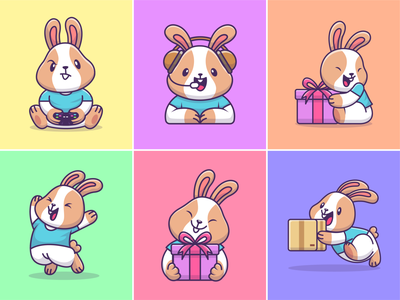 Bunny🐇🎮🎁 face expression animal cloth profession carrot zoo ps5 project for client happy bunny headset box gift gamers bunny rabbit animal cute logo icon illustration