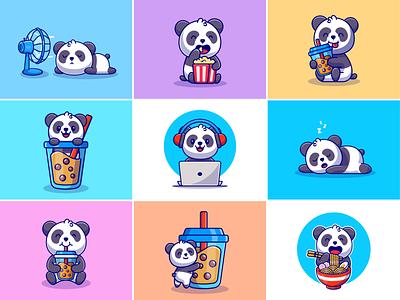 Panda🐼🍿💻 china working panda book panda doll studying sleepy panda fan boba bubble drink ramen laptop pop corn panda style cute panda panda animal cute logo icon illustration