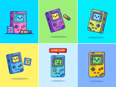 Gameboy Colors🎮🔴🟡🔵 console old game pokemon tetris legend game gameboy accesories portable game toy colors nintendo chip battery technology gameboy color gameboy game icon logo illustration