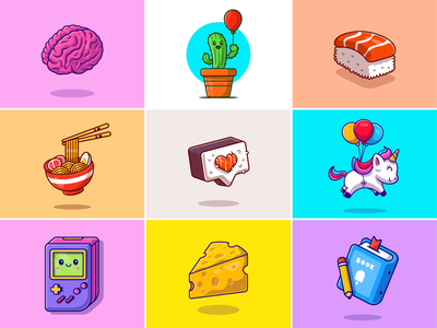 #RandomCatalyst part 4😹 cheese books game plant noodle gameboy ramen balloon sushi brain cactus book unicorn foods stuff random cute icon logo illustration