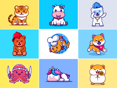 #RandomCatalyst part 5🐶🐻🐮 tiger cub sprinkled knife brown bear octopus unicorn hamster cooking chef fish bear cow tiger zoo animals cute random logo icon illustration