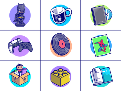 Category icons🤖💿📦 games movie costume paint vinyl record astronaut cup books stationery box cd ps5 spiderman batman custom stuff category icons logo icon illustration