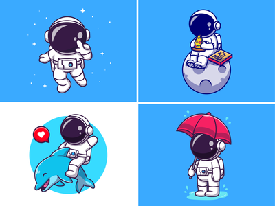 Random astronaut👩🏻‍🚀🍕🐬 flying rocket fastfood meal fish star astroman cute dolphin rain umbrella pizza activities moon space helmet astronaut logo icon illustration