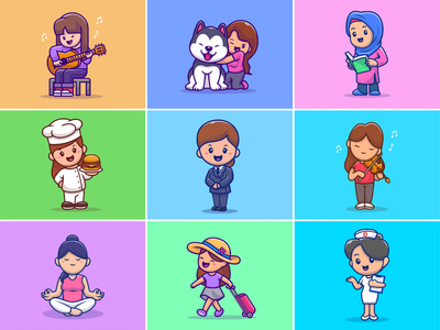 Happy International Women's Day👩🏻‍⚕️🧕🏻🧑🏻‍🎓 girl women in illustration nurse traveling biola moslem women police women chef singer womens day women empowerment logo icon illustration