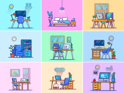Home decoration🏠🪑🛌🏼 interior decor pc lamp work place chair work table board book chest livingroom bedroom computer working laptop interior design workspace home decoration decoration logo icon illustration