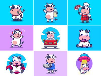 Cow🐮🐄🥛 cattle working driving car cow activities ufo superhero beef music chef cow milk grass farm zoo cow animal cute logo icon illustration