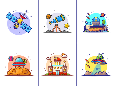 Space things🛰️🛸🔭 comets space space things star astronaut signal moon observatorium planetarium meteor minion satellite ufo astronomy telescope planet cute logo icon illustration