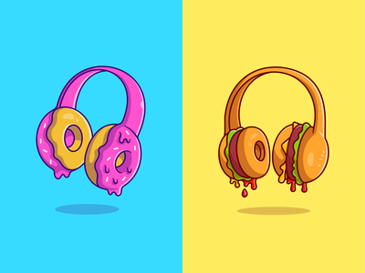 Food music🎧🍩🍔 song food music headset bread unique design custome headset sound meal fast food custome foods foods donuts burger headphone earphone music cute logo icon illustration