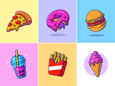 Fast food🍕🍩🍔 food menu cool drink flying food food delivery food store reaturant ice cream potato stick ice bubble burger pizza donuts snack meal fast food foods cute logo icon illustration