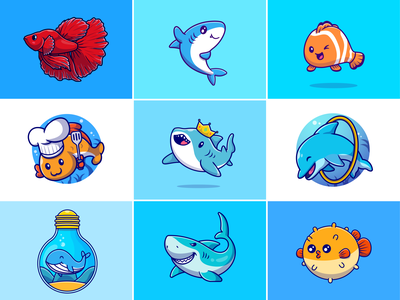 Fish🐡🐬🐋 mammalian fish ocean viral fish custome fish king shark whale custome lamp dolphin shark betta fish nemo sea aquarium animal zoo fish cute logo icon illustration