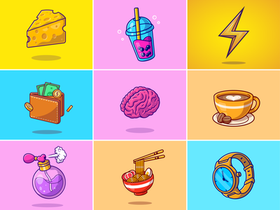 #RandomCatalyst part 9🧀🧋⚡ fragrant object food ramen hand watch perfume coffee brain wallet bubble drink cheese random stuff logo icon illustration