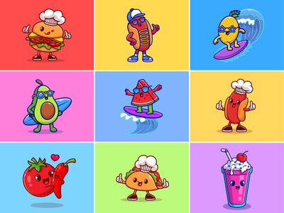 Food mascot🍔🌭🍍 custome food fast food fruit watermelon ice float cold drink lemons hotdog burger chili snack restaurant food mascot food character mascot cute logo icon illustration