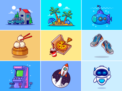 #RandomCatalyst part 11🏠🌴🍕 traveling japanese food dimsun rocket sneakers shoes game robot food pizza submarine building home beach island stuff random cute logo icon illustration