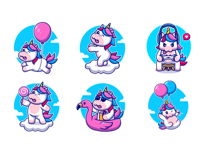 Unicorn!!!🦄💙 happy animal animal dancing cloud flamingo gaming candy balloon cartoon zoo animals flying horse horse custome unicorn unicorn animal cute logo icon illustration
