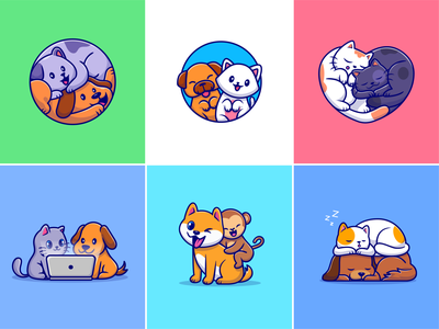 Animal friends🐶🐱 happy animal sleepy animal corgi relationship laptop couple animal zoo monkey dog cat animal cute logo icon illustration