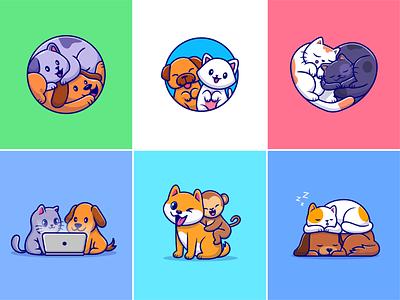 Animal friends🐶🐱 happy animal sleepy animal corgi relationship laptop couple animal zoo monkey dog cat animal cute logo icon illustration