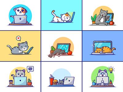 Cat laptop🐱🐈💻 working orange cat grey cat computer laptop busy cat sleepy cat fast food workspace working animal cat zoo animal cute logo icon illustration