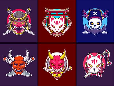 Japanese mask🎭⛩️ monster japan icon red mask tarditional japanese mask japanese mask mask cute logo icon illustration