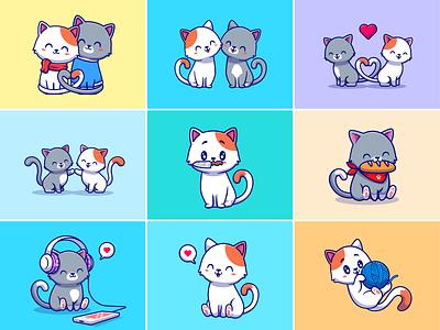 Cats🐱🐈🥖 heart shape persian cat knife love couple animal love birds bread music animal activity couple cat animal cats vector cute logo icon illustration