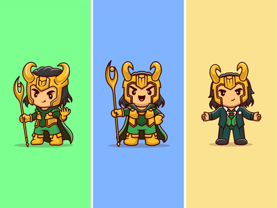 Loki ⌛ ⏱️💂🗡️ disney mascot movie character actrees cinema marvel studios movie television series loki character cute logo icon illustration
