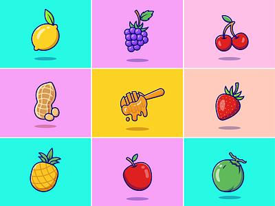 Food icons🍋🍇🍒🍍🍑 lemon fresh drink summer vibes coconut pineapple cherry grape fruit mascot fresh food juice vegetarian healthy food honey fruit food cute logo icon illustration