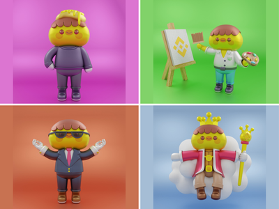 3D character🐥🐤👑 animal suit working chicks rooster king animal profession artist hobbies 3d character 3d design chicken animal cute logo icon illustration