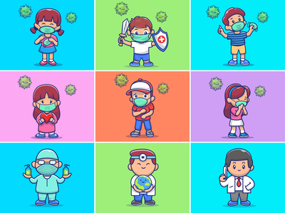 Stay health everyone🥼🛡️💉 prevent covid wearing mask people pandemic world covid - 19 stay healthy hospital nurse doctor disease virus mask health cute logo icon illustration