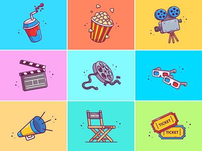 Movies🥤🍿🎬 director studio holiday drink ticket pop corn camera roll 4d glasses cinema stuff cinema netflix series movies cute logo icon illustration