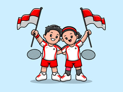 Greysia & Apriyani win gold medal at Tokyo Olympics athlete winners gold gold medal woman flag indonesia sport tokyo olympics tokyo japan olympic badminton contest character cute logo icon illustration
