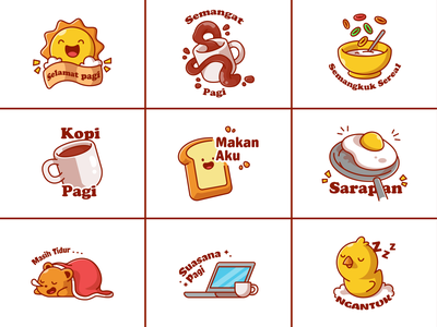 Snapchat morning filter☀️😴☕ workspace animal stickers sleepy working egg greetings quotes food breakfast sun morning application snapchat snpachat filter cute logo icon illustration