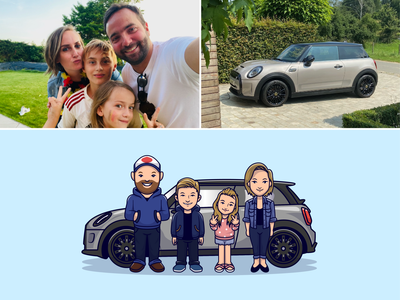 Family illustrations👨👩👧👦🚘🏠 car sketch blonde hair sweater clothes boy girl siblings parents traveling house mini cooper car camping family potrait family cute logo icon illustration