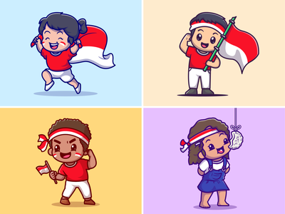 Independence day🇮🇩🎊 ribbon warrior celebration freedom shrimp crisp girl boy contest flag indonesia character national day independence day cute logo icon illustration