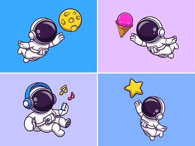 Floating astronaut🧑🏻🚀🌙⭐ music astronaut suit floating astronaut ice cream moon star rocket space theme space astroman astronaut cute logo icon illustration
