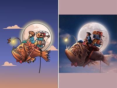 Cute boy with fish👦🏼🐡🎣 sky camping sea monster anglerfish riding moon boy fishing flying fish fish cartoon animation character cute logo icon illustration