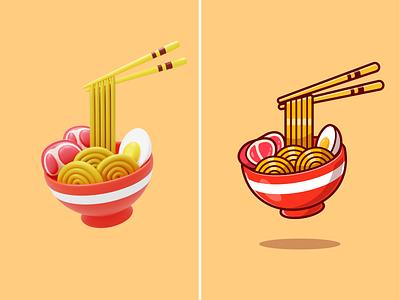 Ramen🍜🥢 beef egg ramen ingredients 3d design cartoon snack lunch breakfast eating chopsticks bowl noodle ramen japanes food food cute logo icon illustration