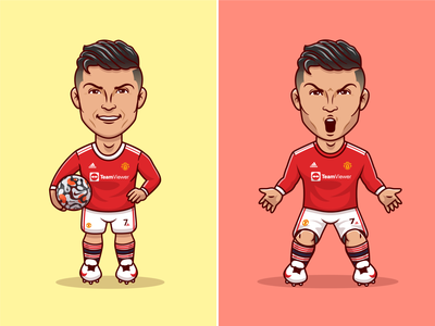 Welcome Back @cristiano to @manchesterunited ⚽🥳 people boy cartoon soccer jersey shirt cristianoronaldo football shirt sport manchesterunited football soccer ball character cute logo icon illustration