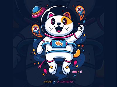Astro Cat 🤘😼🧑🏻🚀 accessories custome animal moon screen printing animal shirt tshirt artprint stickers rocket space theme cat astro astronaut cat cute logo icon illustration