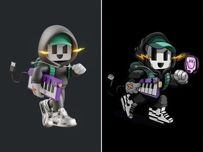Cool 3D music character🎹⚡ song composer cartoon jacket sneakers boy concert studio keyboard piano 3d design music character cute logo icon illustration