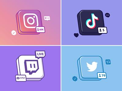 Social media🌐📱👍🏻 vector arts social media icons networks technology social media logo tiktok youtube twitter instagram social media design cute logo icon illustration
