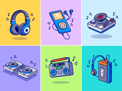 Music player🎧📼📻💿 headset music club dj radio sport stuff band stuff lyrics singing song vinyl record earphone ipod music player music cute logo icon illustration