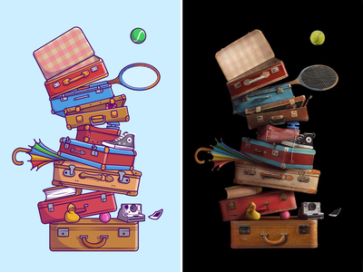 Pile of suitcases💼🧳🌂👟 bag store camping sneakers travel stuff vacation wallet umbrella pile of suitcases suitcases travel bag bag cute logo icon illustration