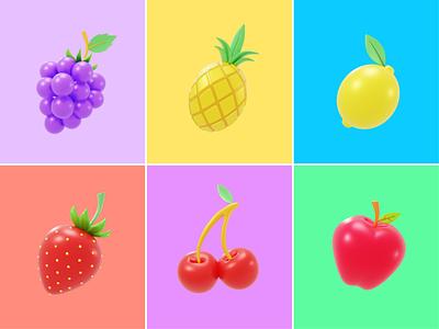 Fruit 3D🍇🍍🍋 strawberry flying fruit pineapple cherry desert fresh fruit lemon summer fruit grape food fruit 3d 3d design fruits cute logo icon illustration