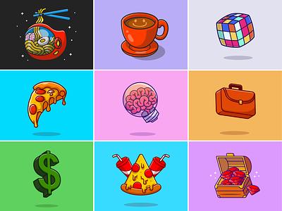 #RandomCatalyst part 18🍜☕🍕🧠 chest pizza cubic flying food diamond dollar treasure brain noodle work bag object drink food work stuff cute logo icon illustration