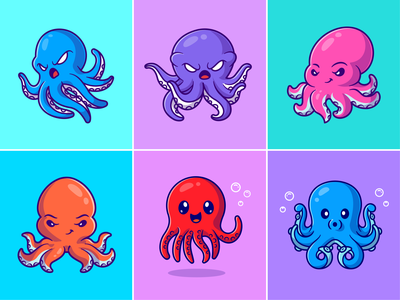 Octopus🐙🌊🐙 custome animal silly face angry face colors face expression tentacles wild animal deep sea ocean sea animal octopus cute logo icon illustration